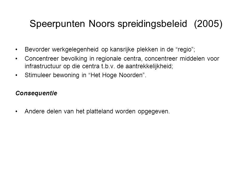 """Speerpunten Noors spreidingsbeleid (2005) •Bevorder werkgelegenheid op kansrijke plekken in de """"regio""""; •Concentreer bevolking in regionale centra, co"""