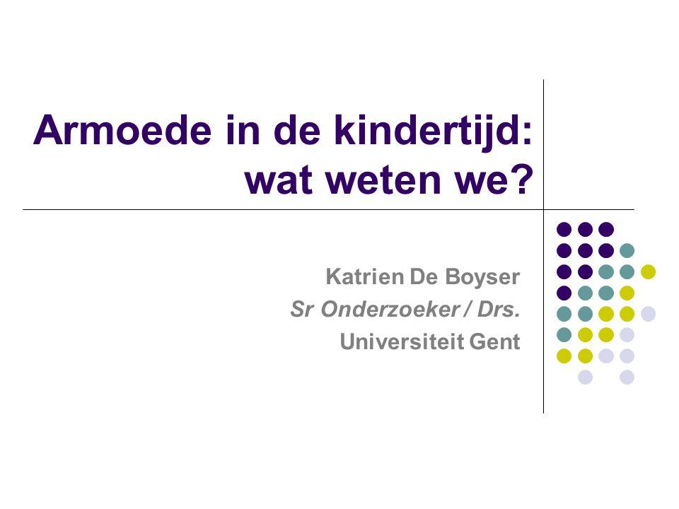 Armoede in de kindertijd: wat weten we? Katrien De Boyser Sr Onderzoeker / Drs. Universiteit Gent
