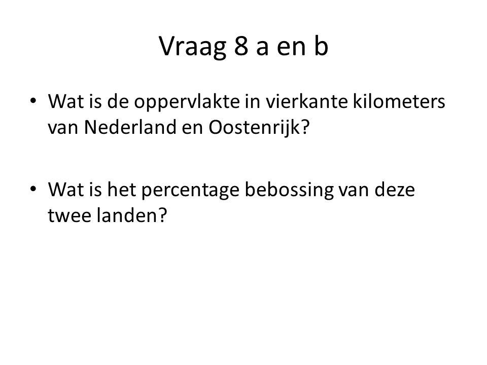 Vraag 8 a en b • Wat is de oppervlakte in vierkante kilometers van Nederland en Oostenrijk.