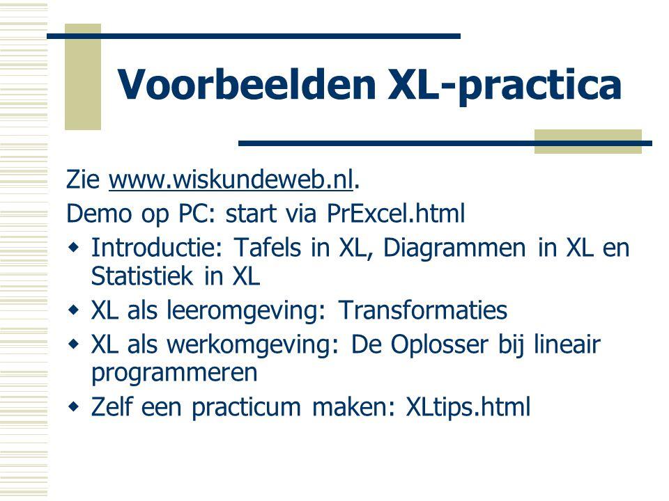 Voorbeelden XL-practica Zie www.wiskundeweb.nl.www.wiskundeweb.nl Demo op PC: start via PrExcel.html  Introductie: Tafels in XL, Diagrammen in XL en