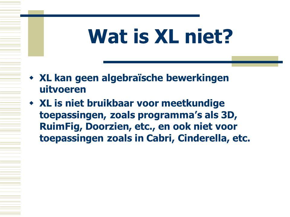 Wat is XL niet?  XL kan geen algebraïsche bewerkingen uitvoeren  XL is niet bruikbaar voor meetkundige toepassingen, zoals programma's als 3D, RuimF