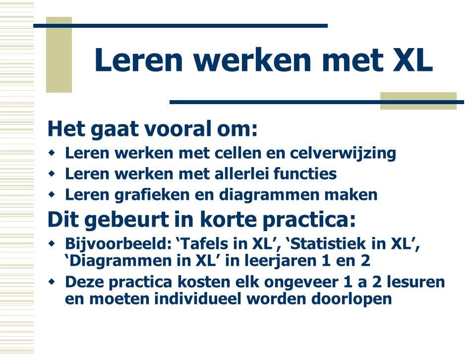 XL als werkomgeving  Je gebruikt dan XL als gereedschap, bijvoorbeeld om te rekenen, om even de grafiek van een bepaalde functie te bekijken, of om statistieken op te maken  Je werkt met leerlingen op basis van praktische opdrachten (GWA), zoals: - 'Rapportcijfers in XL' - 'Zakgeld in XL' - 'Benzine of diesel?'