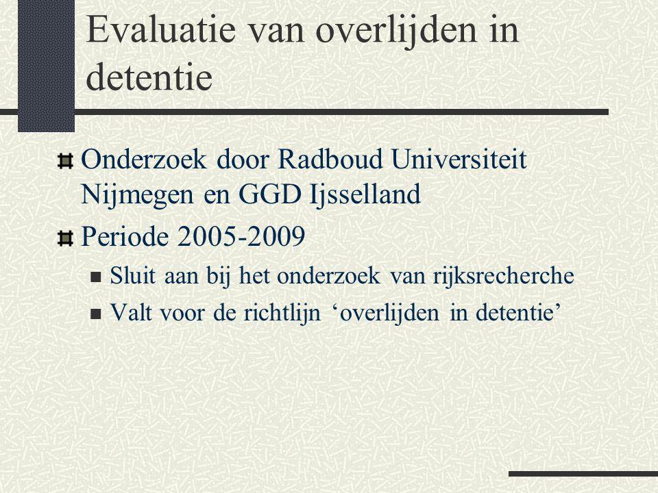 Evaluatie van overlijden in detentie Onderzoek door Radboud Universiteit Nijmegen en GGD Ijsselland Periode 2005-2009  Sluit aan bij het onderzoek va