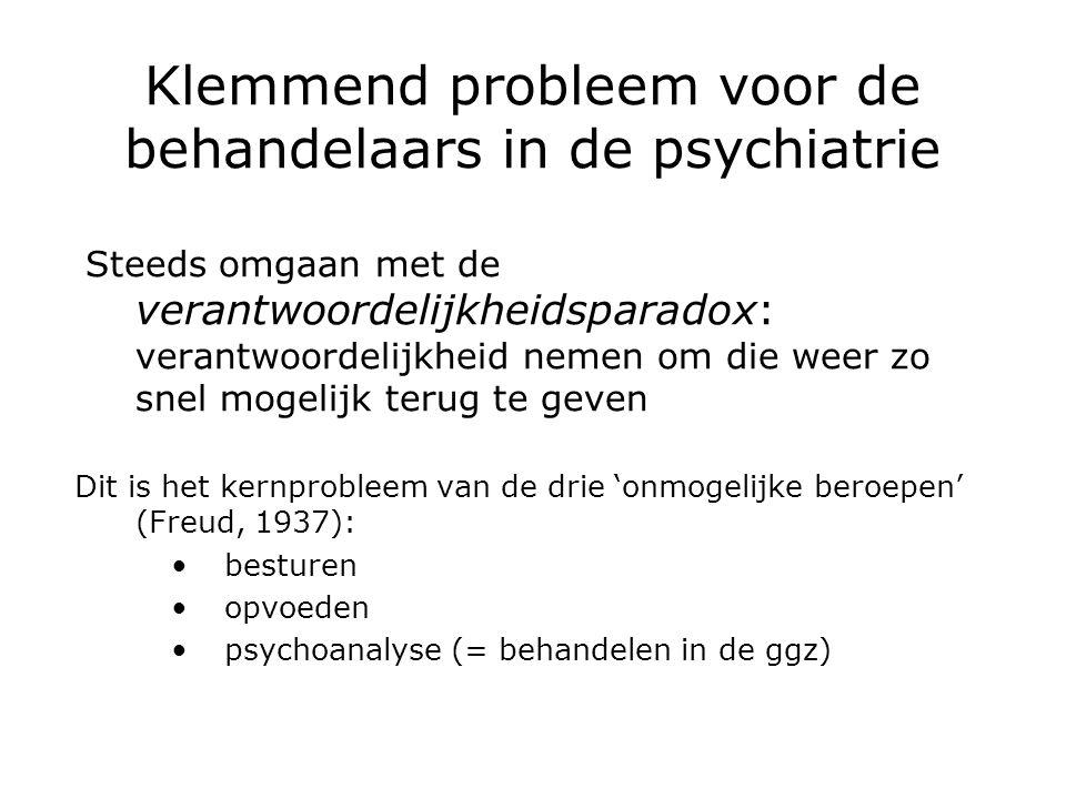 Klemmend probleem voor de behandelaars in de psychiatrie Steeds omgaan met de verantwoordelijkheidsparadox: verantwoordelijkheid nemen om die weer zo