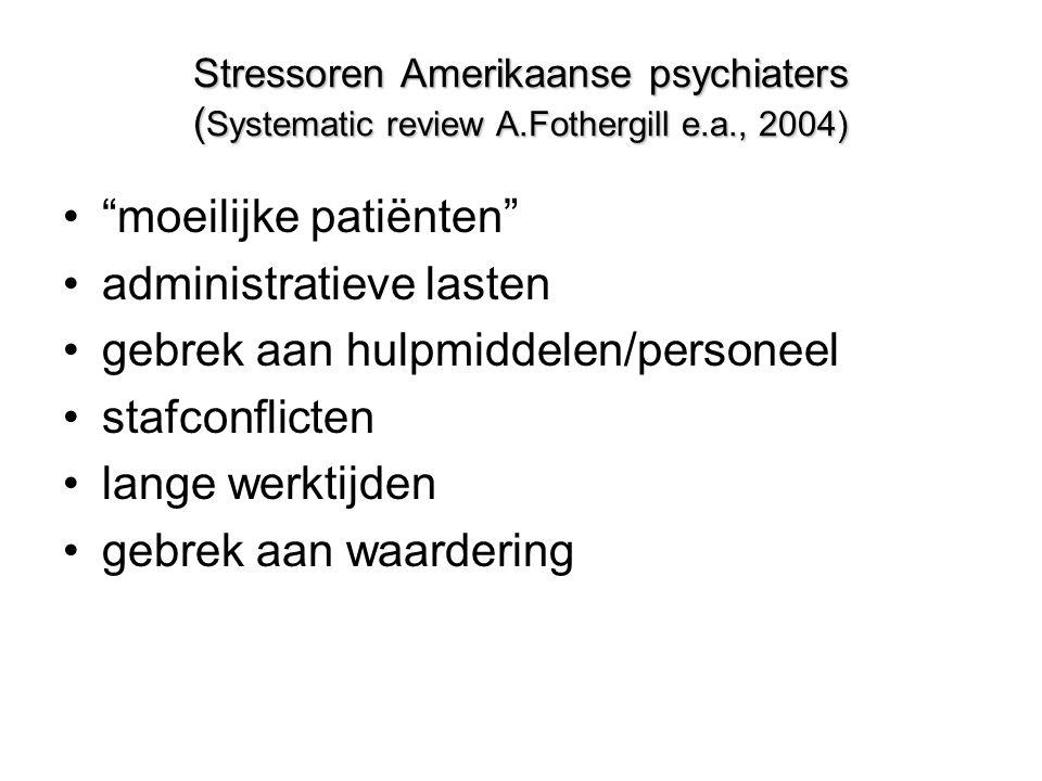 Stressoren Amerikaanse psychiaters ( Systematic review A.Fothergill e.a., 2004) • moeilijke patiënten •administratieve lasten •gebrek aan hulpmiddelen/personeel •stafconflicten •lange werktijden •gebrek aan waardering