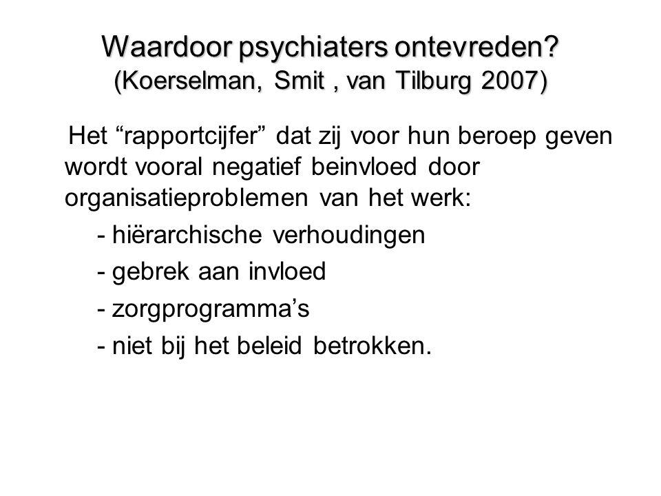 """Waardoor psychiaters ontevreden? (Koerselman, Smit, van Tilburg 2007) Het """"rapportcijfer"""" dat zij voor hun beroep geven wordt vooral negatief beinvloe"""