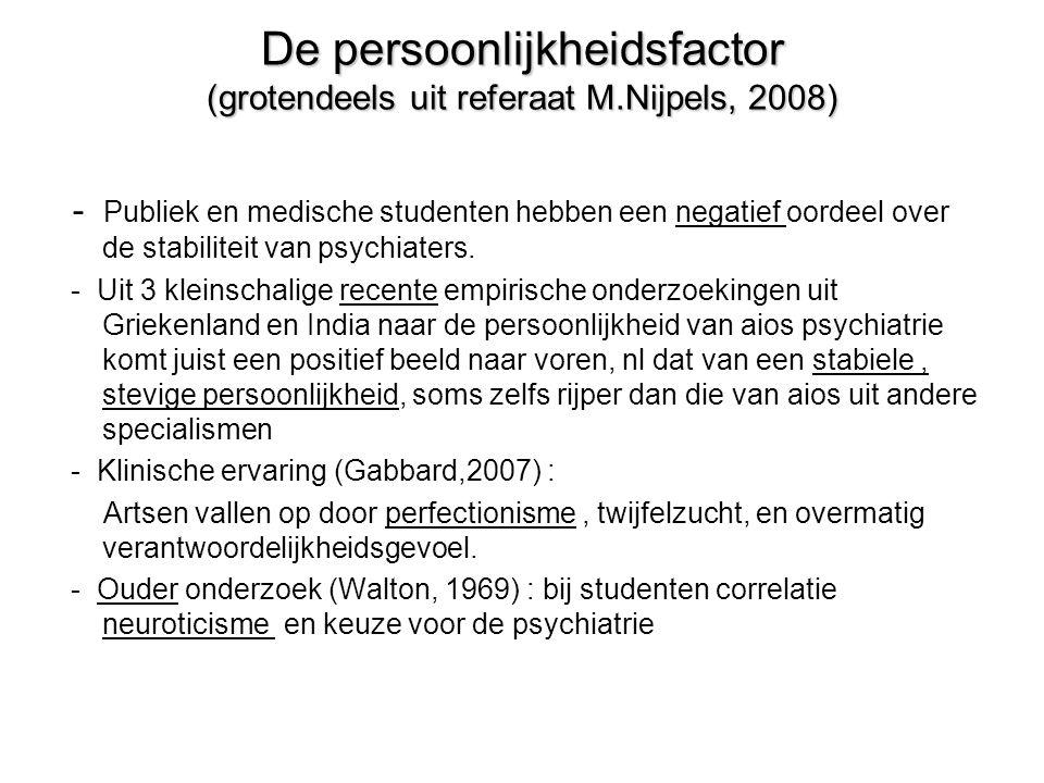 De persoonlijkheidsfactor (grotendeels uit referaat M.Nijpels, 2008) - Publiek en medische studenten hebben een negatief oordeel over de stabiliteit van psychiaters.
