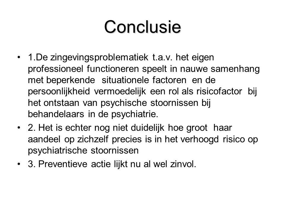 Conclusie •1.De zingevingsproblematiek t.a.v. het eigen professioneel functioneren speelt in nauwe samenhang met beperkende situationele factoren en d