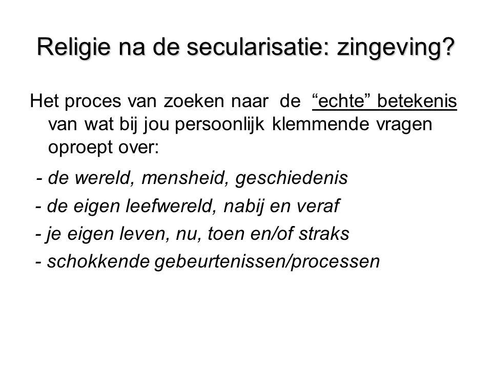 Religie na de secularisatie: zingeving.