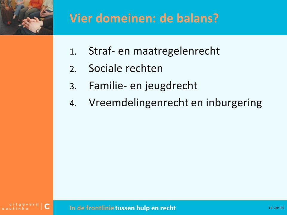 In de frontlinie tussen hulp en recht 14 van 15 Vier domeinen: de balans? 1. Straf- en maatregelenrecht 2. Sociale rechten 3. Familie- en jeugdrecht 4