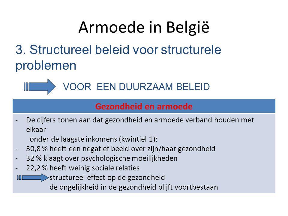 Armoede in België 3. Structureel beleid voor structurele problemen VOOR EEN DUURZAAM BELEID Gezondheid en armoede -De cijfers tonen aan dat gezondheid