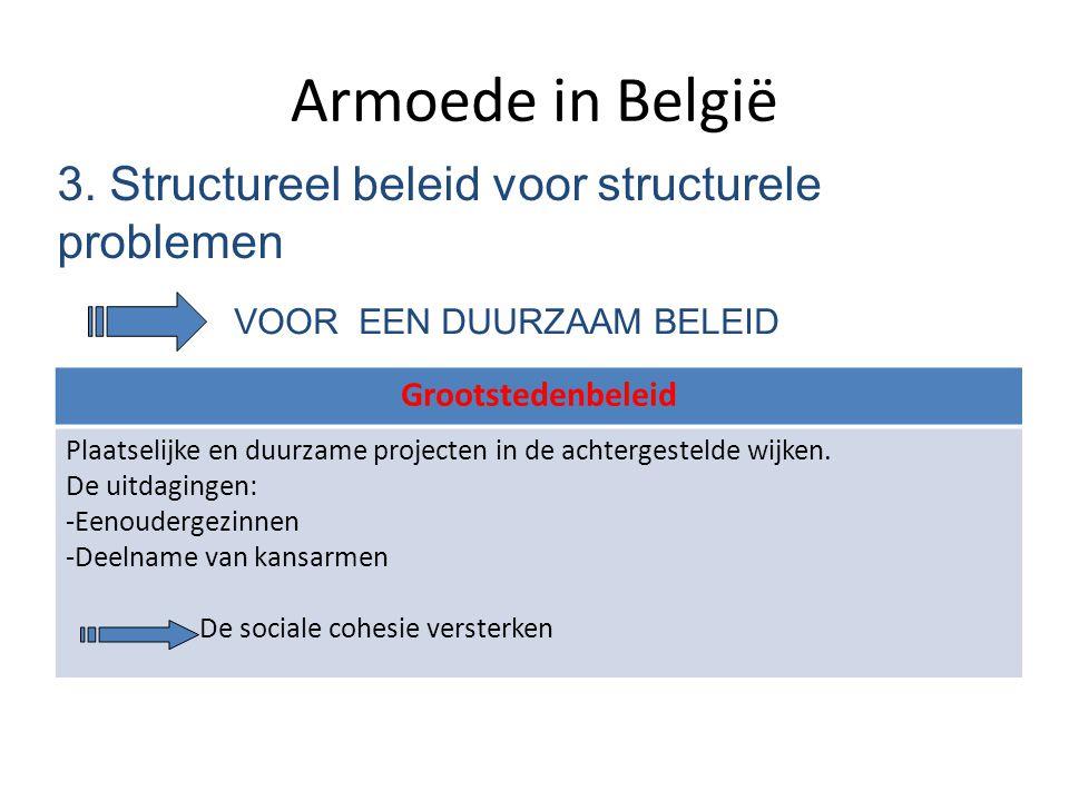 Armoede in België 3. Structureel beleid voor structurele problemen VOOR EEN DUURZAAM BELEID Grootstedenbeleid Plaatselijke en duurzame projecten in de