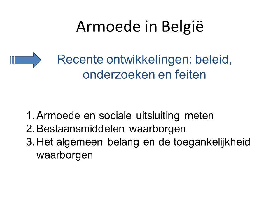 Armoede in België Recente ontwikkelingen: beleid, onderzoeken en feiten 1.Armoede en sociale uitsluiting meten 2.Bestaansmiddelen waarborgen 3.Het alg