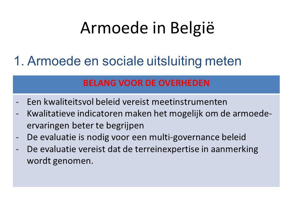 Armoede in België 1. Armoede en sociale uitsluiting meten BELANG VOOR DE OVERHEDEN -Een kwaliteitsvol beleid vereist meetinstrumenten -Kwalitatieve in