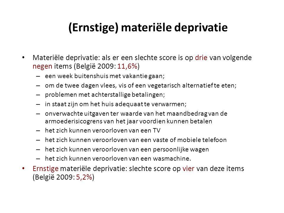 (Ernstige) materiële deprivatie • Materiële deprivatie: als er een slechte score is op drie van volgende negen items (België 2009: 11,6%) – een week b