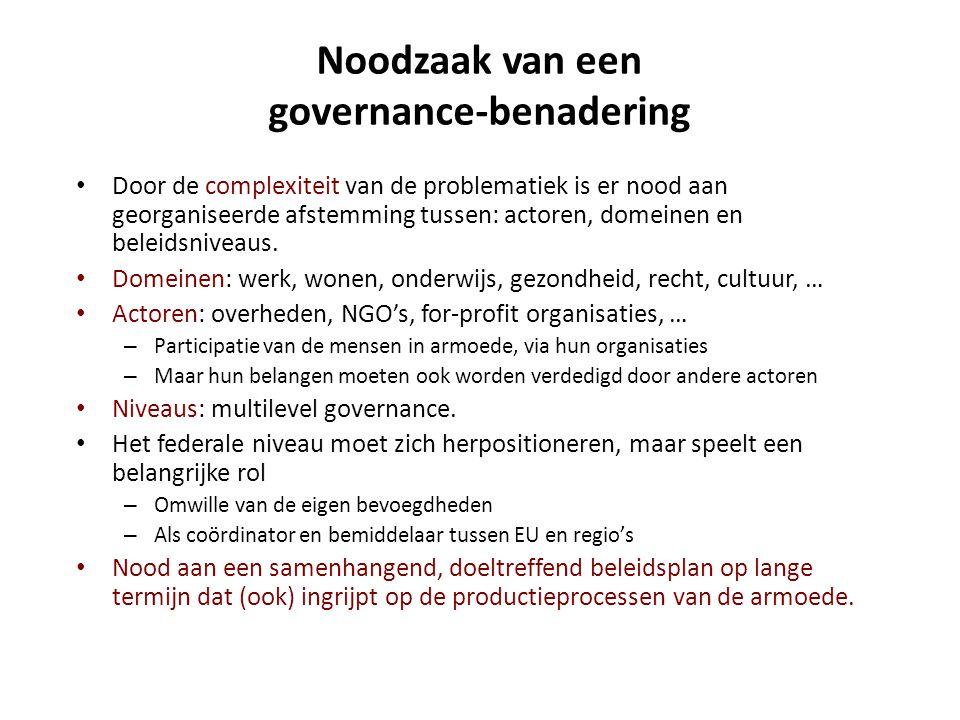 Noodzaak van een governance-benadering • Door de complexiteit van de problematiek is er nood aan georganiseerde afstemming tussen: actoren, domeinen e
