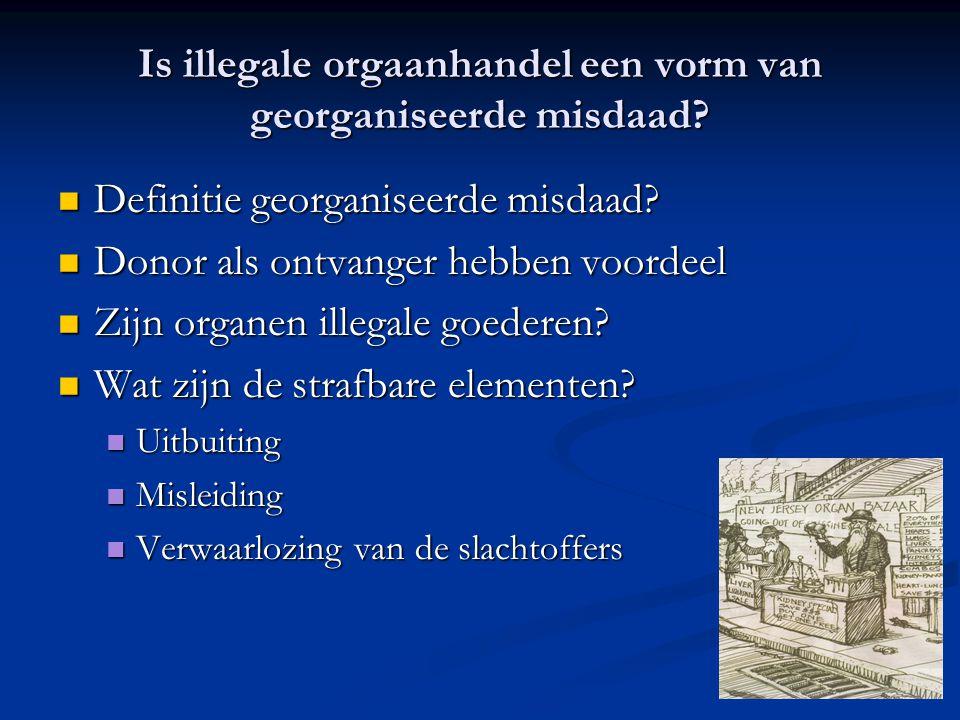 Is illegale orgaanhandel een vorm van georganiseerde misdaad?  Definitie georganiseerde misdaad?  Donor als ontvanger hebben voordeel  Zijn organen