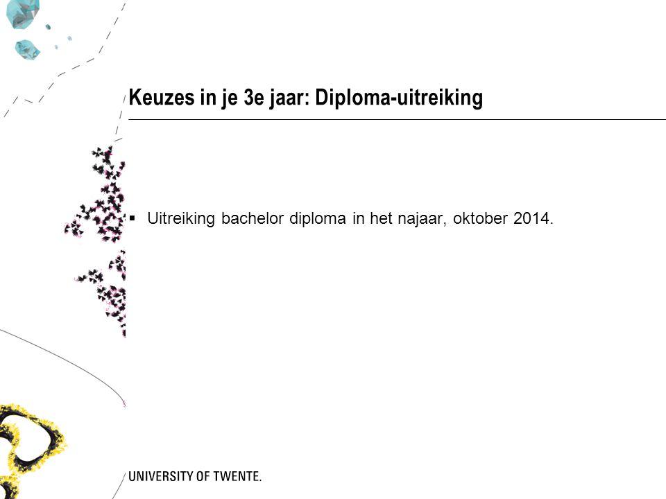 Keuzes in je 3e jaar: Diploma-uitreiking  Uitreiking bachelor diploma in het najaar, oktober 2014.