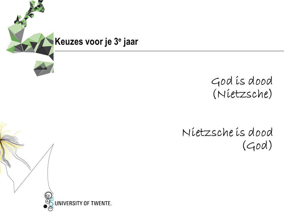 Keuzes voor je 3 e jaar God is dood (Nietzsche) Nietzsche is dood (God)