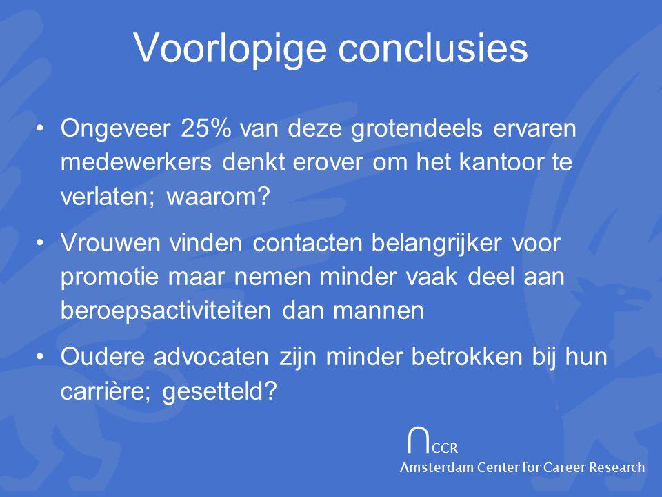∩ CCR Amsterdam Center for Career Research Voorlopige conclusies •Ongeveer 25% van deze grotendeels ervaren medewerkers denkt erover om het kantoor te verlaten; waarom.