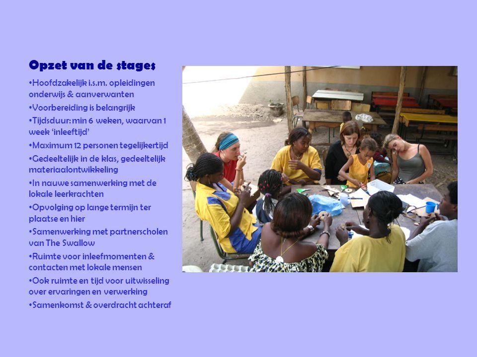 Opzet van de stages • Hoofdzakelijk i.s.m. opleidingen onderwijs & aanverwanten • Voorbereiding is belangrijk • Tijdsduur: min 6 weken, waarvan 1 week
