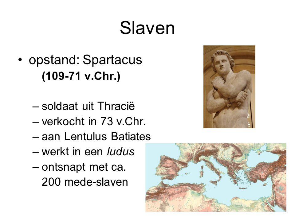 Slaven •opstand: Spartacus (109-71 v.Chr.) –soldaat uit Thracië –verkocht in 73 v.Chr. –aan Lentulus Batiates –werkt in een ludus –ontsnapt met ca. 20