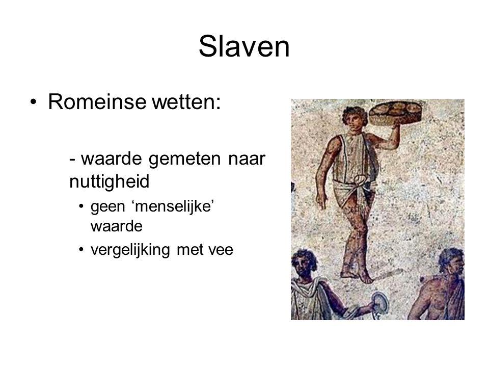 Slaven •belang van slaven –economisch •arbeiders (familia rustica) •taken in het huishouden (familia urbana) –status •verzorging •opvoeding