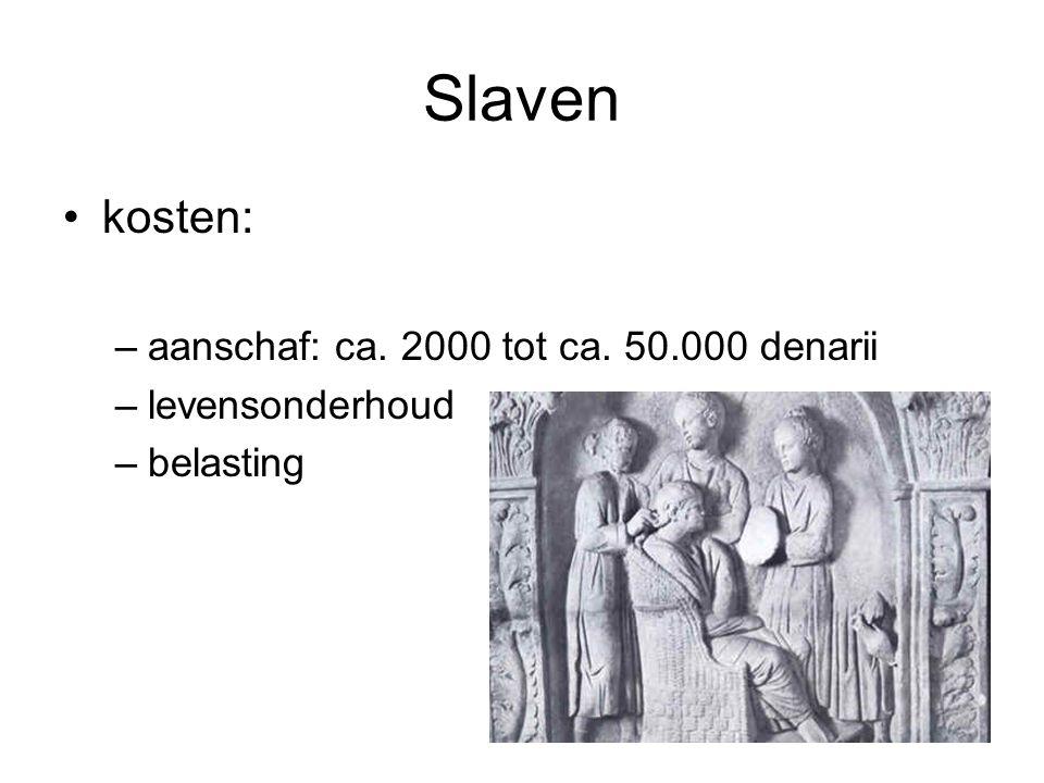 Slaven •kosten: –aanschaf: ca. 2000 tot ca. 50.000 denarii –levensonderhoud –belasting