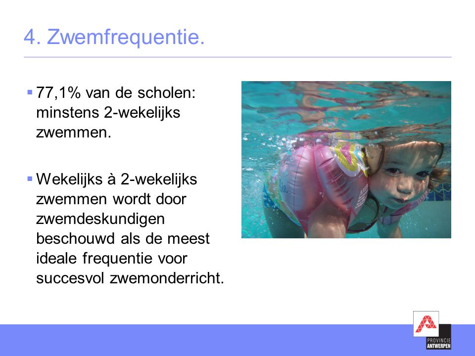 4. Zwemfrequentie.  77,1% van de scholen: minstens 2-wekelijks zwemmen.  Wekelijks à 2-wekelijks zwemmen wordt door zwemdeskundigen beschouwd als de