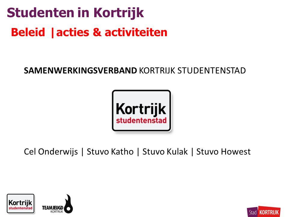 Studenten in Kortrijk Beleid |acties & activiteiten SAMENWERKINGSVERBAND KORTRIJK STUDENTENSTAD Cel Onderwijs | Stuvo Katho | Stuvo Kulak | Stuvo Howest