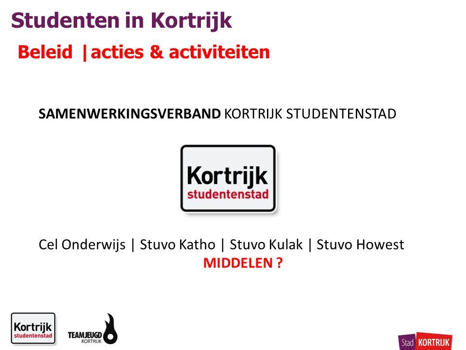 Studenten in Kortrijk Beleid |acties & activiteiten SAMENWERKINGSVERBAND KORTRIJK STUDENTENSTAD Cel Onderwijs | Stuvo Katho | Stuvo Kulak | Stuvo Howest MIDDELEN