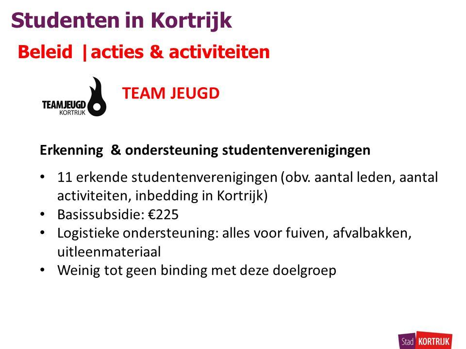 Studenten in Kortrijk Beleid |acties & activiteiten Erkenning & ondersteuning studentenverenigingen • 11 erkende studentenverenigingen (obv.