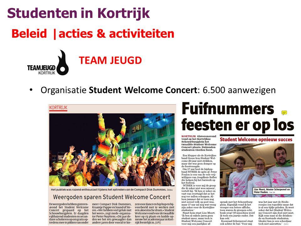 Studenten in Kortrijk Beleid |acties & activiteiten TEAM JEUGD • Organisatie Student Welcome Concert: 6.500 aanwezigen
