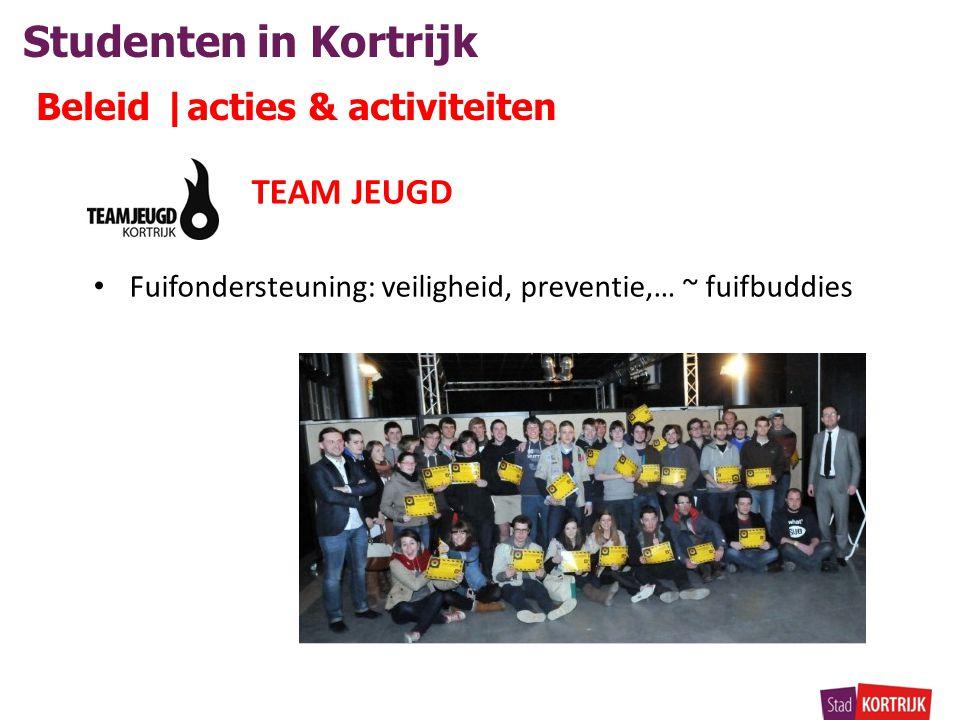 Studenten in Kortrijk Beleid |acties & activiteiten TEAM JEUGD • Fuifondersteuning: veiligheid, preventie,… ~ fuifbuddies
