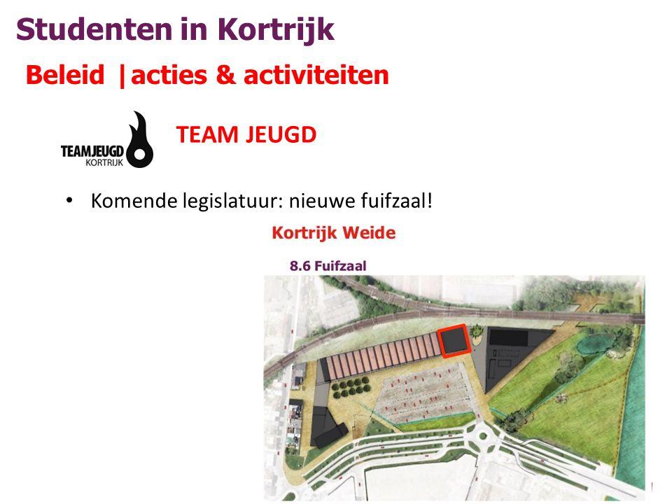 Studenten in Kortrijk Beleid |acties & activiteiten TEAM JEUGD • Komende legislatuur: nieuwe fuifzaal!