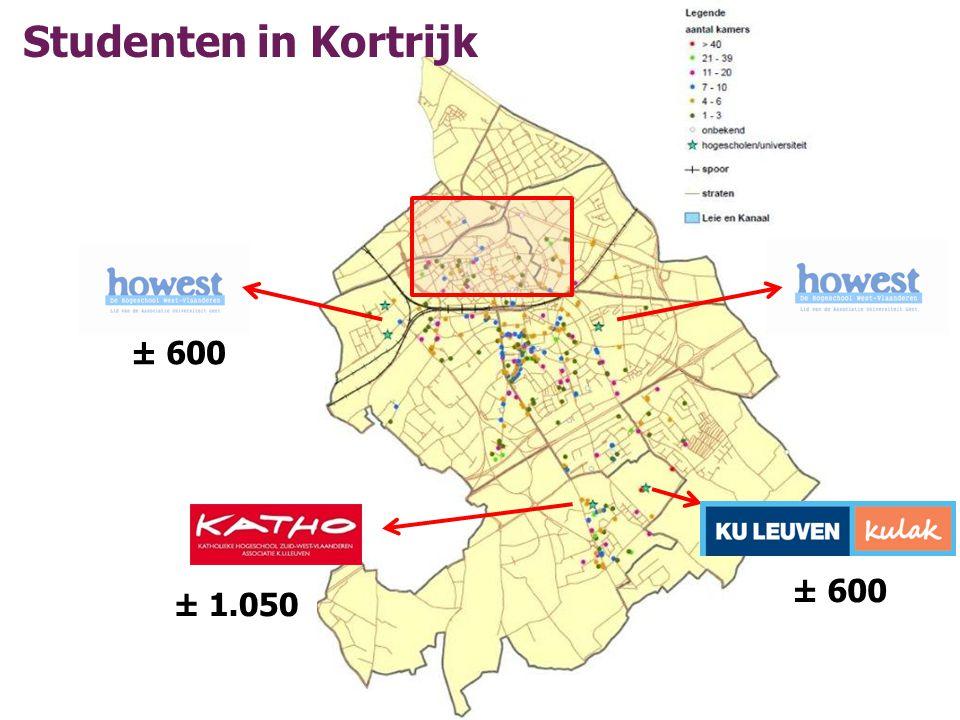 ± 600 ± 1.050 ± 600 Studenten in Kortrijk