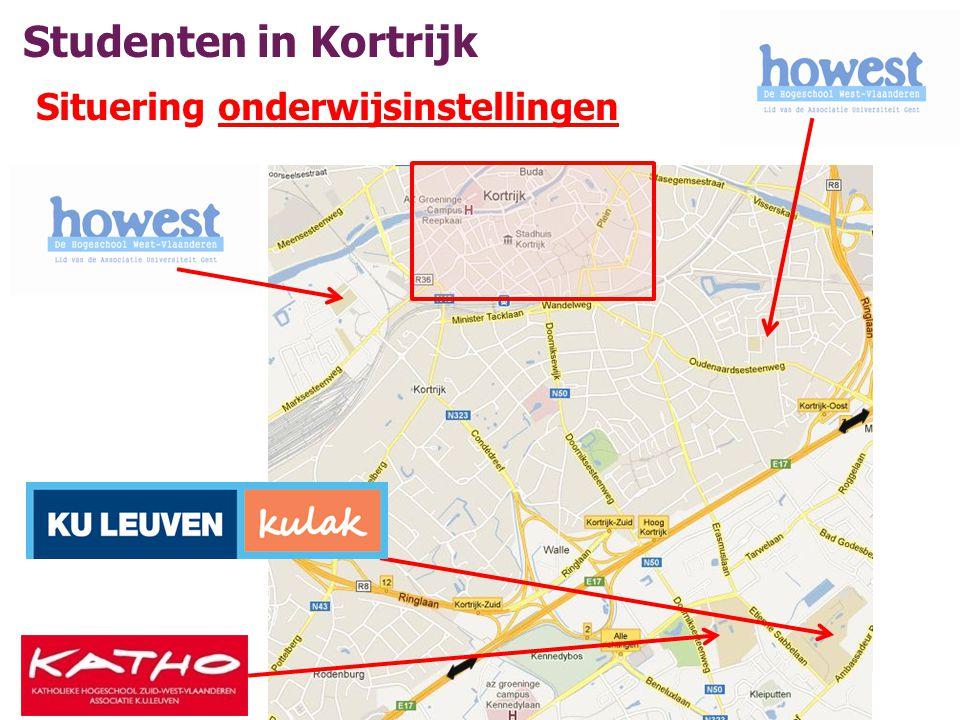 Studenten in Kortrijk Aantal: +/- 10.000