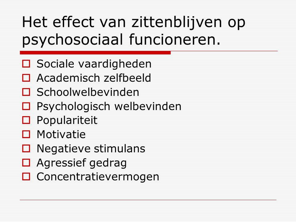 Het effect van zittenblijven op psychosociaal funcioneren.  Sociale vaardigheden  Academisch zelfbeeld  Schoolwelbevinden  Psychologisch welbevind