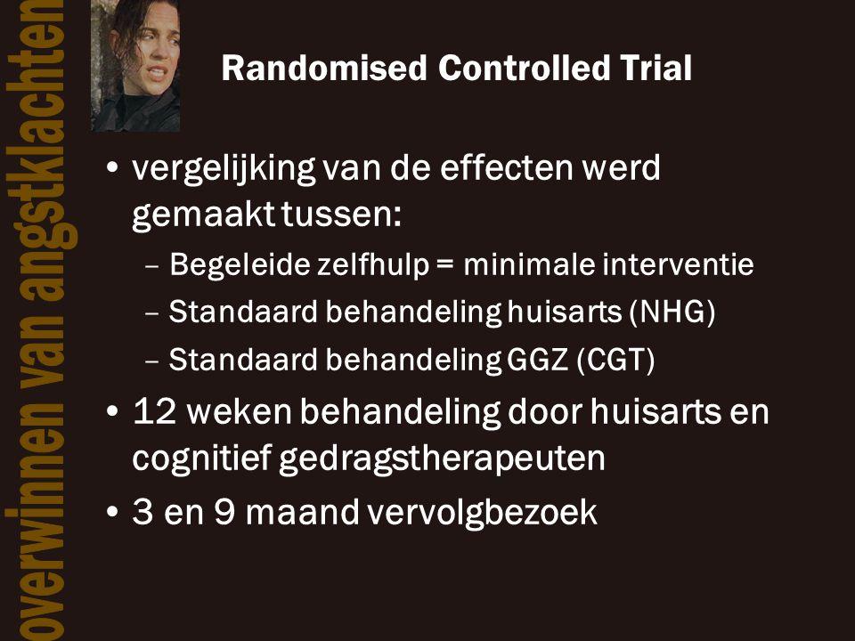 Randomised Controlled Trial •vergelijking van de effecten werd gemaakt tussen: –Begeleide zelfhulp = minimale interventie –Standaard behandeling huisa