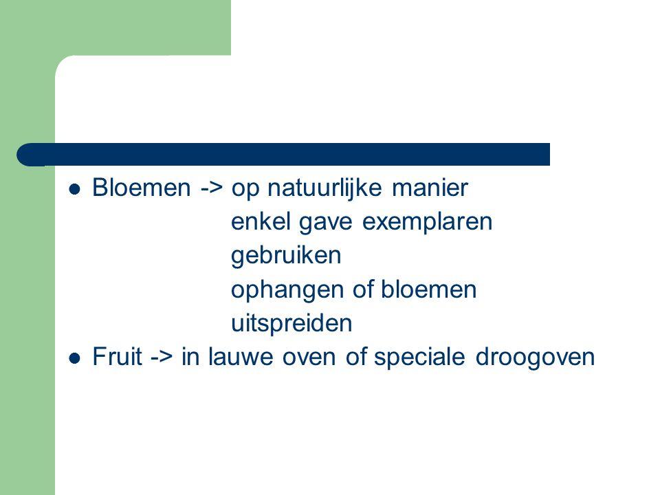  Bloemen -> op natuurlijke manier enkel gave exemplaren gebruiken ophangen of bloemen uitspreiden  Fruit -> in lauwe oven of speciale droogoven