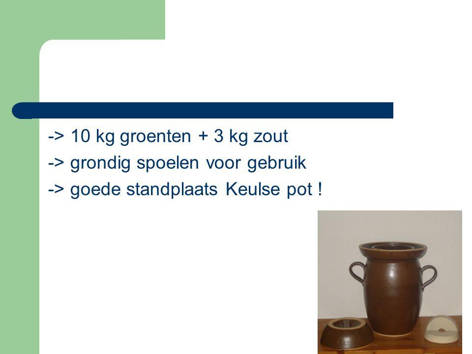 -> 10 kg groenten + 3 kg zout -> grondig spoelen voor gebruik -> goede standplaats Keulse pot !