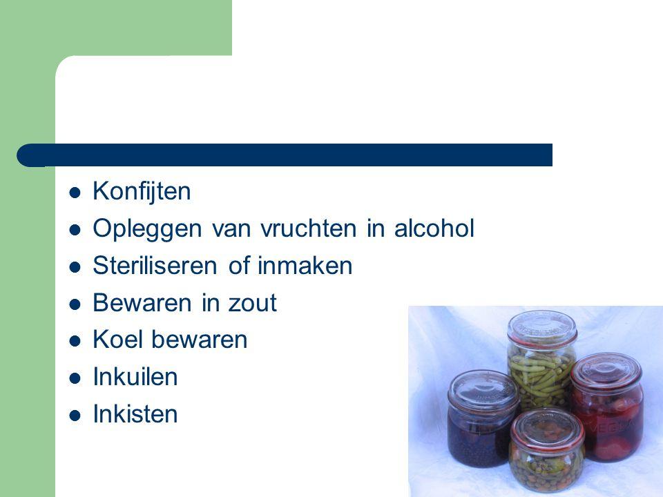  Konfijten  Opleggen van vruchten in alcohol  Steriliseren of inmaken  Bewaren in zout  Koel bewaren  Inkuilen  Inkisten