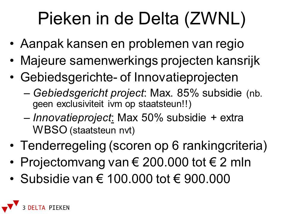 Pieken in de Delta (ZWNL) •Aanpak kansen en problemen van regio •Majeure samenwerkings projecten kansrijk •Gebiedsgerichte- of Innovatieprojecten –Geb
