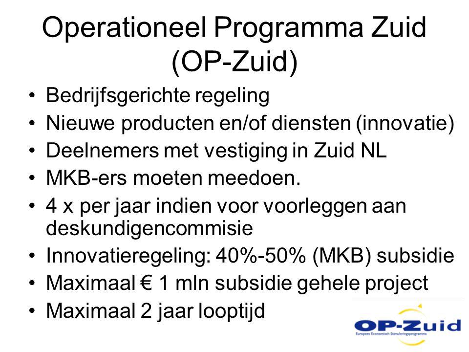 Operationeel Programma Zuid (OP-Zuid) •Bedrijfsgerichte regeling •Nieuwe producten en/of diensten (innovatie) •Deelnemers met vestiging in Zuid NL •MK