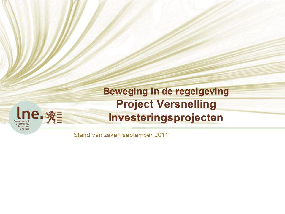 Beweging in de regelgeving Project Versnelling Investeringsprojecten Stand van zaken september 2011