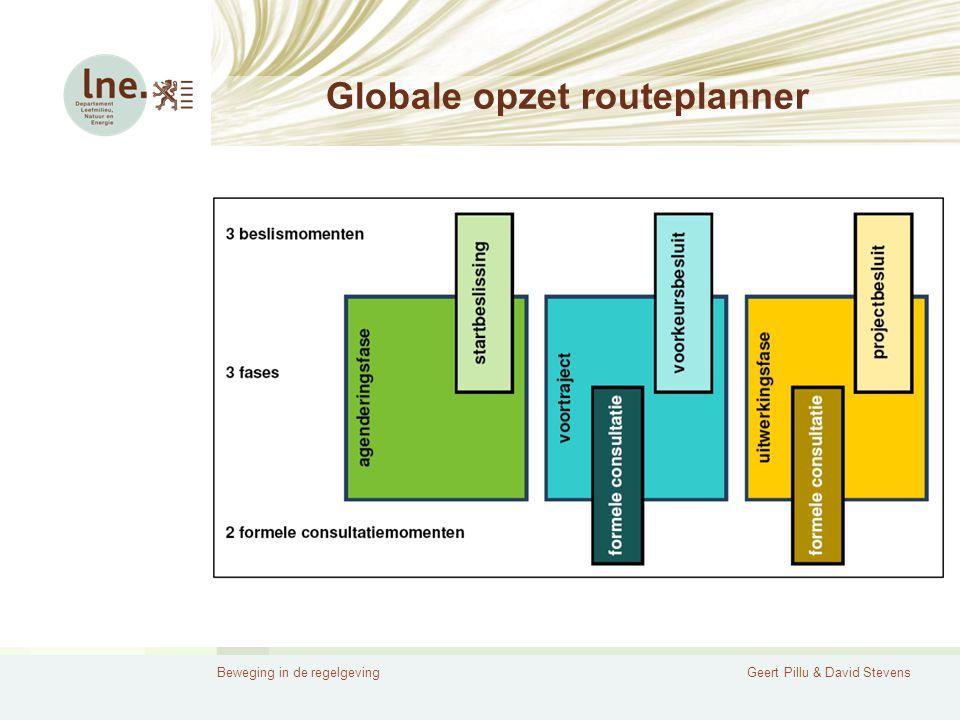 Beweging in de regelgevingGeert Pillu & David Stevens Globale opzet routeplanner