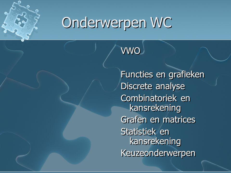 Onderwerpen WC VWO Functies en grafieken Discrete analyse Combinatoriek en kansrekening Grafen en matrices Statistiek en kansrekening Keuzeonderwerpen
