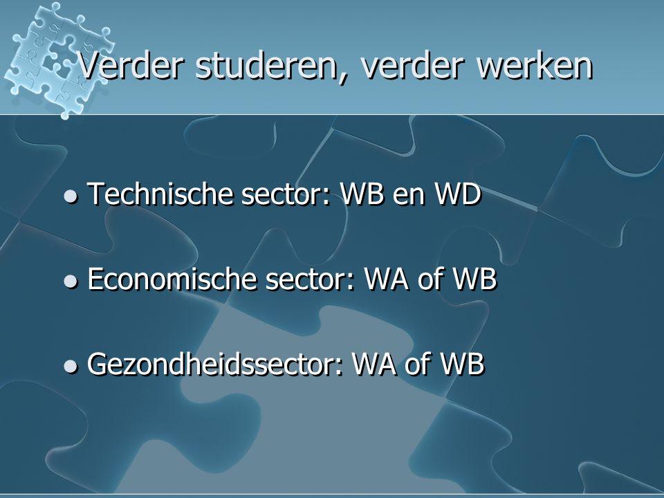 Verder studeren, verder werken  Technische sector: WB en WD  Economische sector: WA of WB  Gezondheidssector: WA of WB  Technische sector: WB en WD  Economische sector: WA of WB  Gezondheidssector: WA of WB