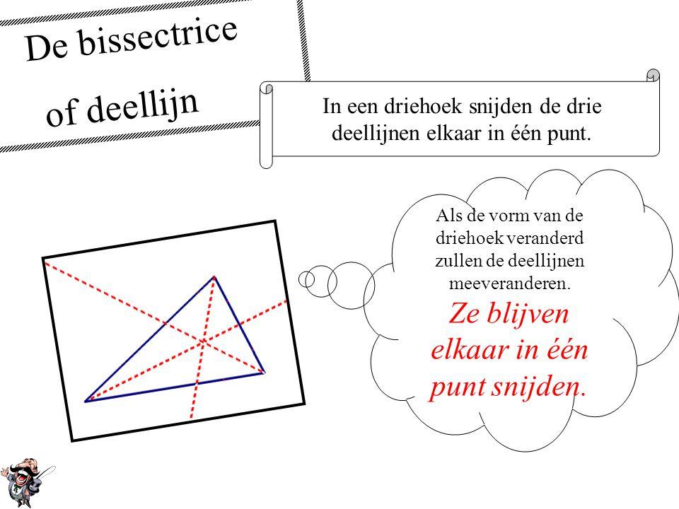 De bissectrice of deellijn De bissectrice of deellijn van een hoek deelt die hoek doormidden. Het maakt niet uit hoelang de benen van de hoek zijn! Ee