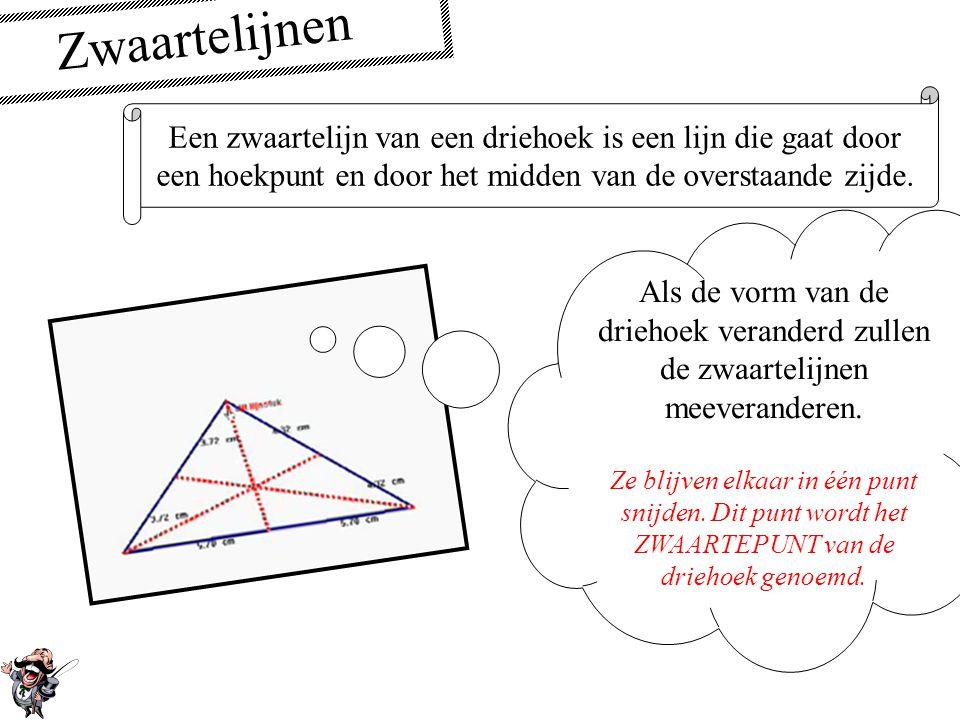 De middelloodlijn In een driehoek snijden de middelloodlijnen van de zijden elkaar in één punt. Als de vorm van de driehoek veranderd zullen de middel